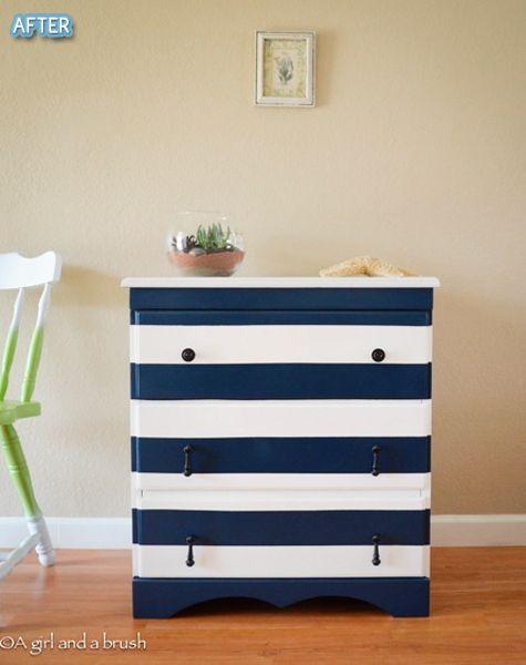Carson's Room: Navy & white striped nautical dresser