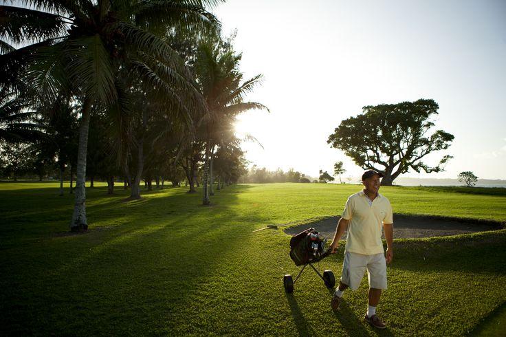 Golf in Vanuatu with stunning views.