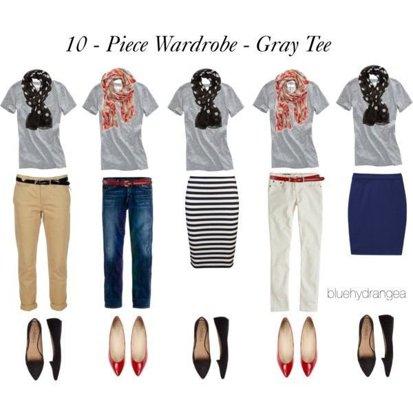 """10 - Piece Wardrobe - Gray Tee"" by bluehydrangea on Polyvore"