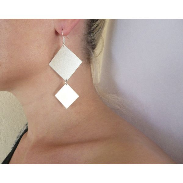 Double rhombus, jewelry, earrings,silver sterlings ear wires,and gold... (€18) via Polyvore featuring jewelry and earrings