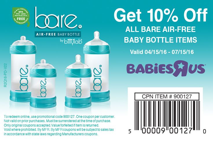 """Bare Air-free Baby Bottle, for sale now at Babies """"R"""" Us. http://bittylab.com/stores"""