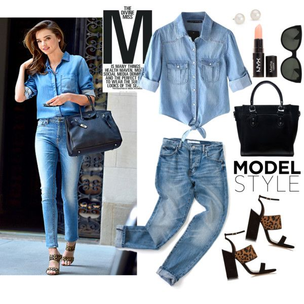 Miranda Kerr Does Double Denim by mplusk on Polyvore featuring Chicnova Fashion, Tabitha Simmons, JAY. M, Blue Nile, Oliver Peoples and Kerr®