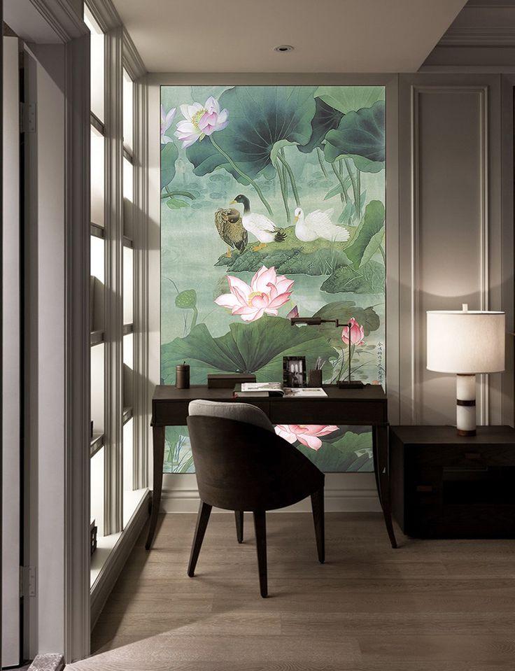 Peinture asiatique fleurs et oiseaux format portrait vertical les lotus roses et les