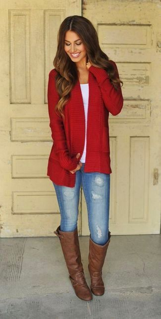 Women's Dark Brown Leather Knee High Boots, Blue Ripped Skinny Jeans, White Crew-neck T-shirt, and Red Open Cardigan