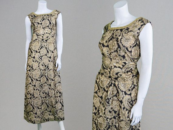 Vintage 60s Brocade Dress Black & Gold Evening by ZeusVintage
