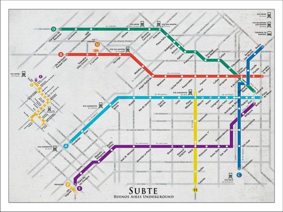 Buenos Aires Subway Map Tube Map Map Art Metro by WaterColorMaps2, $22.50