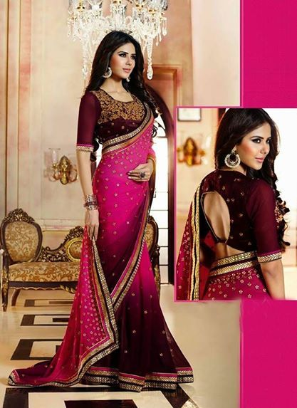 Ornate Magenta Georgette Based Saree With Patch Work