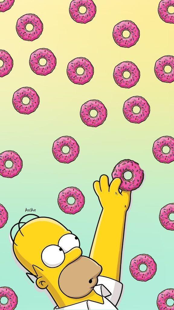 обои пончики симпсоны для