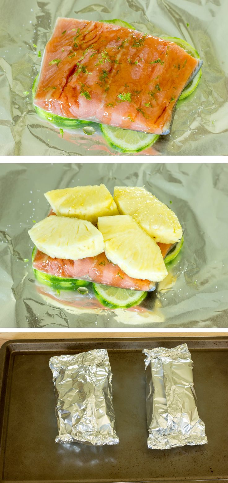Pineapple Salmon Foil Packs~ ¼ of a medium pineapple, peeled, core removed, and sliced 1 large lime (for zest and slices) 2-5 oz. salmon filets Pinch of salt 1 tsp. honey