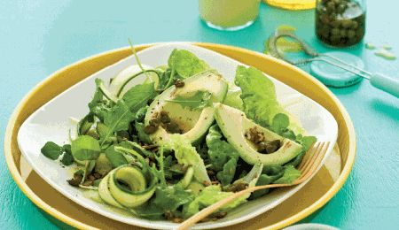Mixed greens with a traditional vinaigrette dressing. The avocado, olive oil and seeds are rich in the healthy monounsaturated fats.
