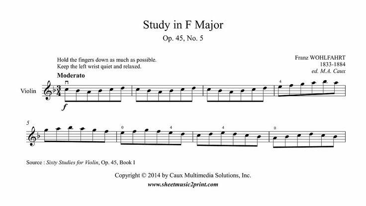 Wohlfahrt : Study in F Major, Op. 45, No. 5 - Violin www.sheetmusic2print.com/Wohlfahrt/Study-45-5.aspx