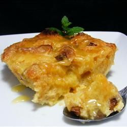 Recipe photo: Panettone bread pudding with spiced orange sauce