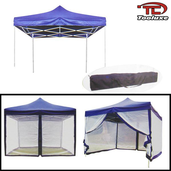 10u0027 X 10u0027 Canopy With Mosquito Net Fold Able Gazebo Tent  Blue