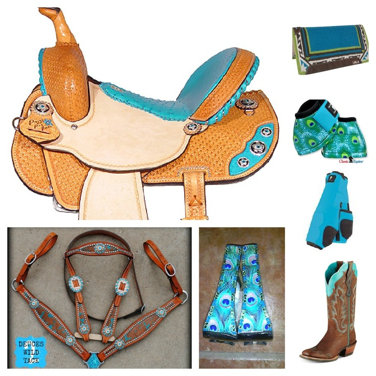 turquoise/peacock barrel racing set jas collage