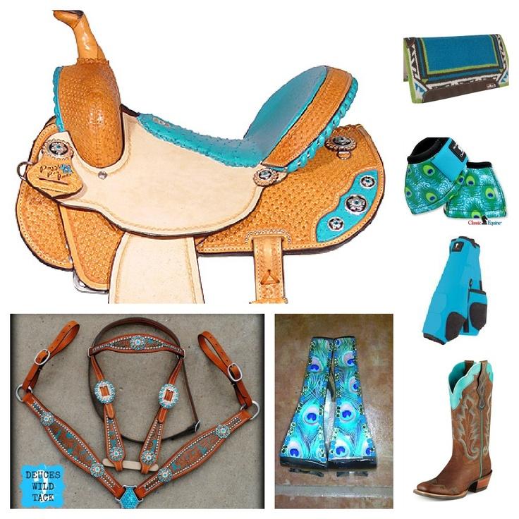 turquoise/peacock barrel racing set jas collage