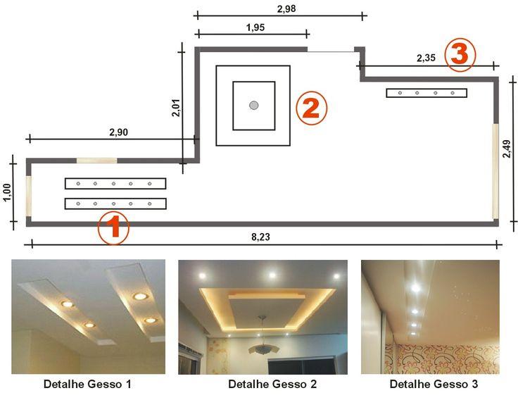 Projeto com iluminação no corredor, sanca para jantar e projeto sala
