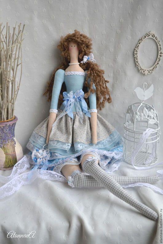 Куклы Тильды ручной работы. Ярмарка Мастеров - ручная работа. Купить Зимняя Тильда в стиле Бохо. Handmade. Голубой