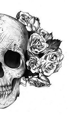 Skull with roses tattoo design. #tattoo #tattoos #ink  ANGEL! JUST SUGAR SKULL IT OUT? CUTE!