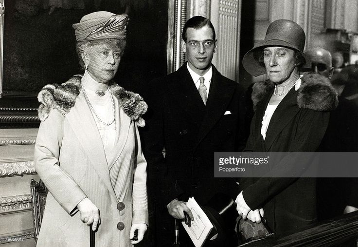 July 1929, HM,Queen Mary, left, with Prince George and Princess Marie Louise at a London silver exhibition