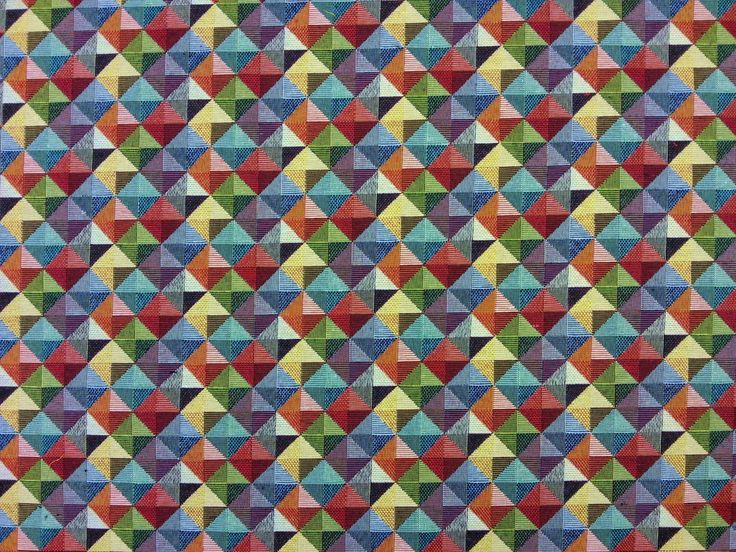 Mini Retro Diamonds Tapestry Multi K3 £12.50 per metre. Woven tapestry fabric, suitable for curtains, blinds, light upholstery, and a variety of soft furnishing projects.