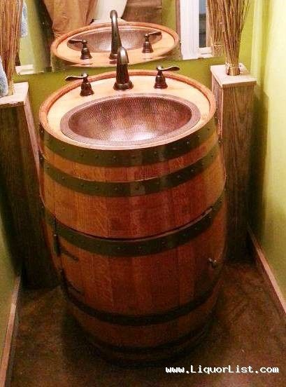 Bourbon Whiskey Barrel Sink For Your Bar Or Man Cave Sold