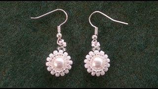flower beaded earrings - YouTube