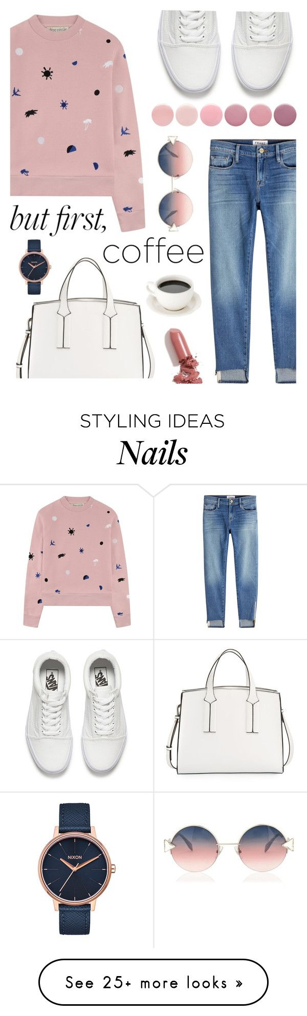"""""""Afternoon Coffee"""" by tqangel on Polyvore featuring Être Cécile, Frame, French Connection, Vans, Nixon, LAQA & Co., Fendi and Deborah Lippmann"""