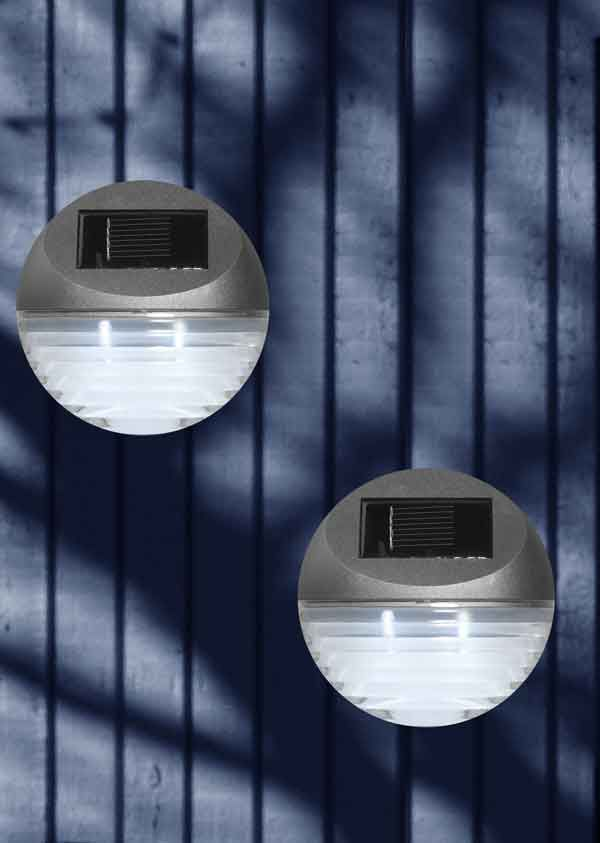 Solcellelamper Solar Fence Light - Silver grey - 2 i en pakke