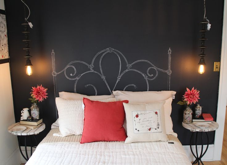 A chalkboard headboard wall in the guest room provides hours of entertainment for young and old. Bachman's Spring Ideas House 2016
