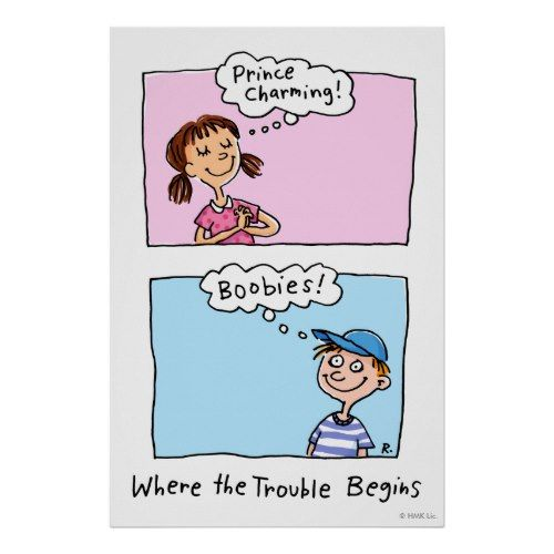 Prince Charming and Boobies... where the trouble begins - Funny Cartoon Poster :-)