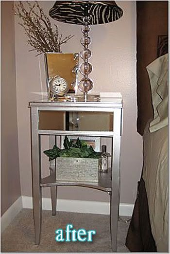 Love this upcycled nightstand diy painted furniture for How to make a mirrored nightstand diy