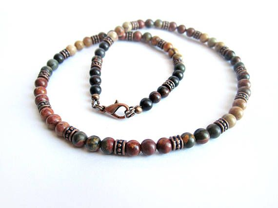 Mens beaded necklace picasso jasper stone bead choker copper