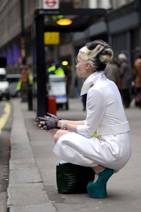 London Fashion Week  Daphne Guinness Photo: Courtney D'Alesio Via Elle.com