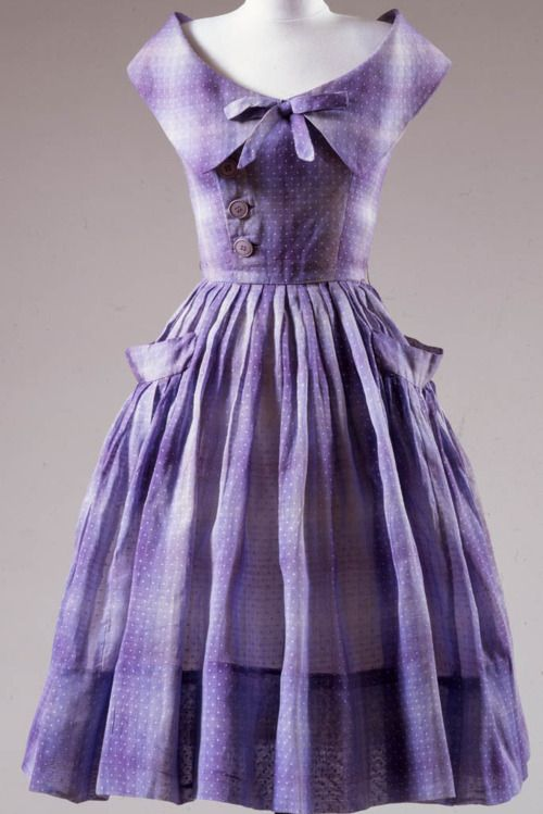 Dress by Mollie Parnis, ca 1954 New York, Center for Jewish History.: Purple Dots, Vintage Dresses, 1950S Dresses, Vintage Fashion, Jewish History, Ombre Purple, 50 S Fashion, 1950S Fashion, Vintage Clothing
