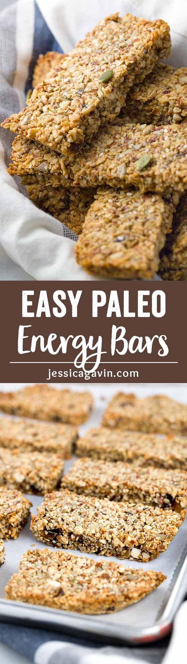 Baked Paleo Energy Bars - This recipe has a mixture of ground nuts, seeds, and a touch of maple syrup for a healthy portable snack bar on the go!  via @foodiegavin