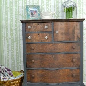 Dark gray and stained oak dresser   Antique oak dresser with serpentine drawers with a stained wood top   Two toned dresser