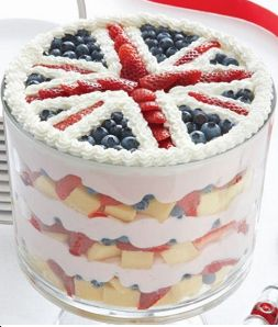 Union Jack Trifle. This looks delicious and perfect served on Disposable Tableware at a Street Party. http://www.novelties-direct.co.uk/VE-Day-2015-Celebrations-tablewear/