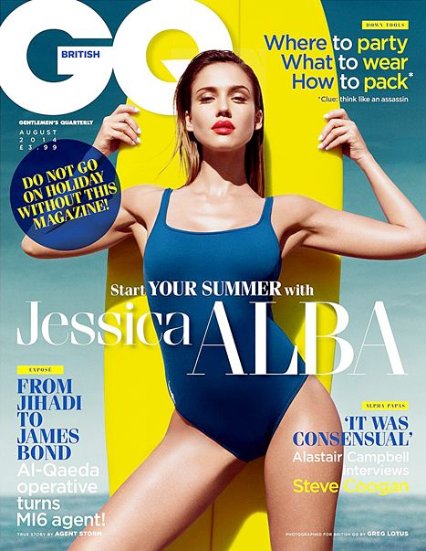 Jessica Alba is sizzling on the big screen -- and on newstands. The actress poses seductively in a navy one-piece bathing suit on the July 2014 cover of British GQ. Read what she had to say about her late friend Paul Walker.