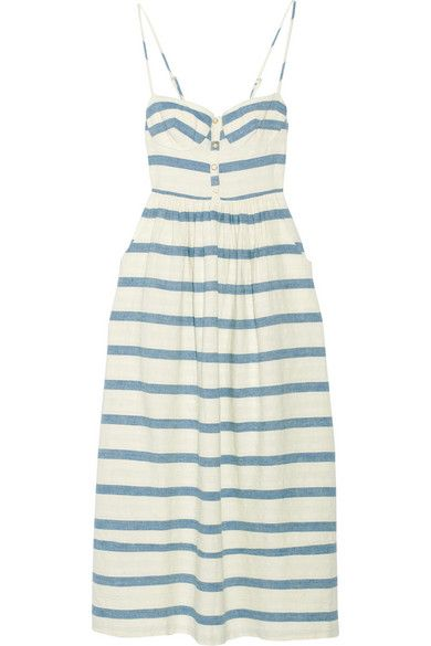 Off-white and blue cotton Slips on 100% cotton; lining: 100% polyester Dry clean