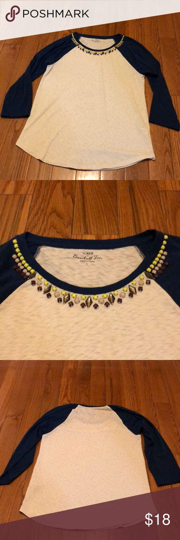 J Crew Jewel Neck Baseball Tee Navy and White A simple, cute and fun baseball tee with a little bling! A great top for year round wear with jeans or shorts! Little wear and great condition! All gems and jewels are in place! J. Crew Tops Tees - Long Sleeve