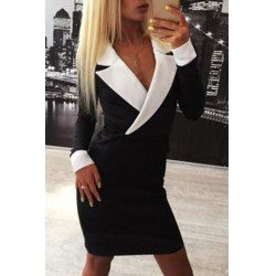 Chic Lapel Long Sleeve Hit Color Bodycon Women's Dress - I like this. Do you think I should buy it?