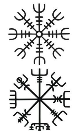 #vikingcompass   #HelmofAwe. Since Algiz is basically a rune of protection (the branching prongs of the symbolic elk-horn keeping danger at bay), repeating the rune 8 times in all directions serves the purpose of blocking or evading attacks from all directions, both the obvious and the concealed.  #Vegvísir (Icelandic 'sign post') is an Icelandic magical stave intended to help the bearer find his/her way through rough weather.