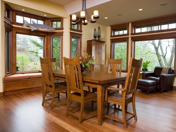 The Mission Style Dining Room Set Blends With The Custom Woodwork, A Staple  In Craftsman Design.