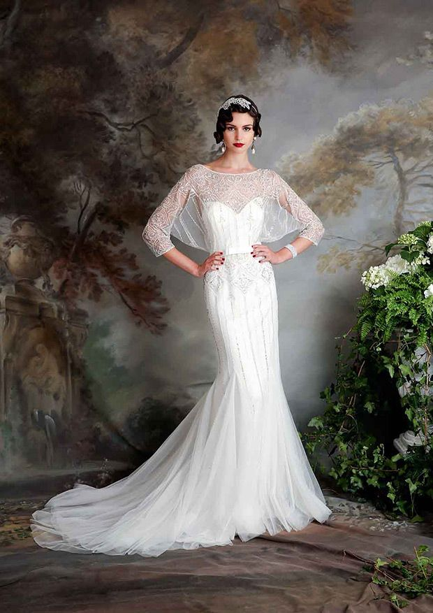 Love this theme!! Vintage Inspired Eliza Jane Howell Elsa Wedding Dress | www.onefabday.com