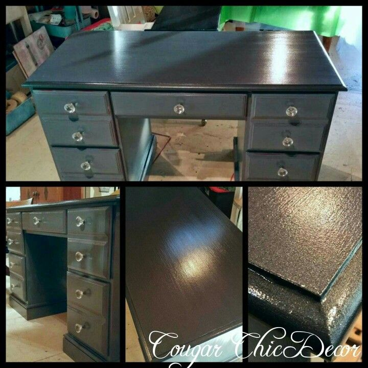 Here is a desk that I custom painter for a client!! The base of the desk is painted in van gogh 'zeplin'(gray ) with AYLDT (red) poking through and the top is our metallic 'zeplin'(sparkly black)...the whole desk is sealed with our table top finish for more durability and we replaced the knobs with these beautiful glass ones! As usual the pictures don't do it justice... www.albertadames.ca