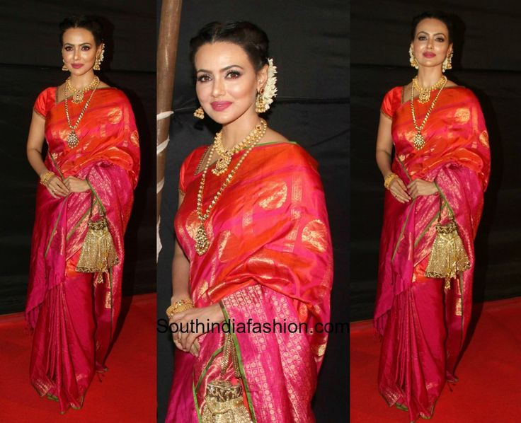 Sana Khan was snapped at the Dada Saheb Foundation Awards 2017 in a pink kanjeevaram saree.