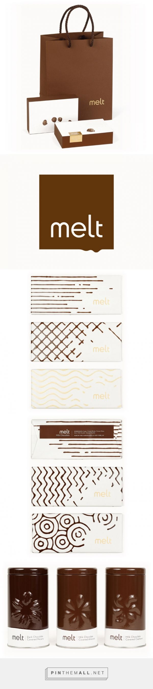 MELT: Mouthwatering Design for a Gourmet Chocolate Shop by Jesse Kirsch (JJAAKK) curated by Packaging Diva PD. Packaging and logo design with classic characteristics of melted chocolate are used throughout, providing a tantalizing glimpse at the wonderfulness contained within.