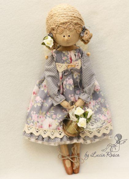 """Ангелочек СердеШный """"Розы цветут""""/ в сером/ - серый,ангел,ангелочек сердешный"""