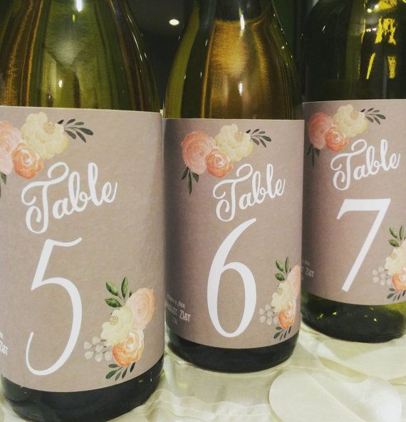 Wine Label Table Numbers for Wedding by RelaxEventStudio on Etsy