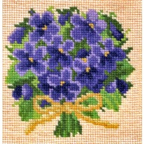 "Elizabeth Bradely ""Posy of Violets"" Mini Kit  finished"